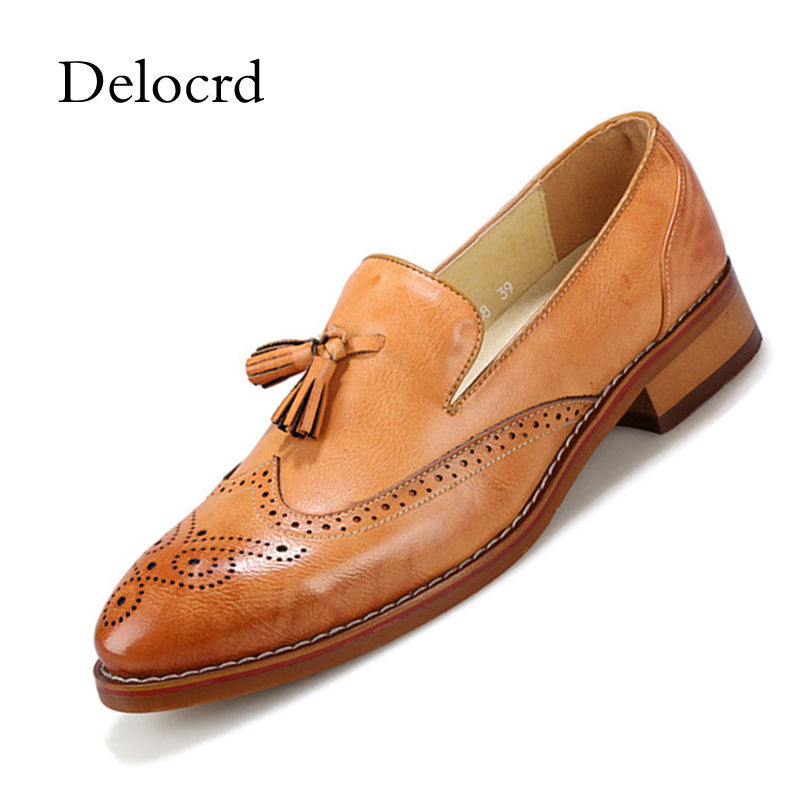 British Style Men Brogues Shoes Tassel Decorated Brethable Moccasins Loafers Shoes Slip On Vintage   Leather   Flats Shoes D