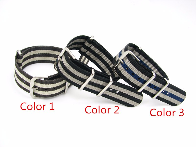 CARLYWET 20mm Black Gray Brown Luxury Nylon Watch Band Nato Strap Belt Polished Gold Silver Stainless Steel Loop For Rolex Omega