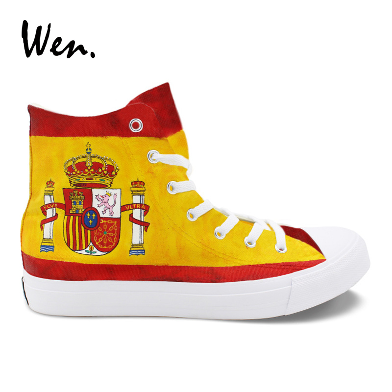 Wen Design Hand Painted Custom Shoes Spain Flag High Top Women Men's Canvas Sneakers Laced Skateboarding Shoes for Boy Girl