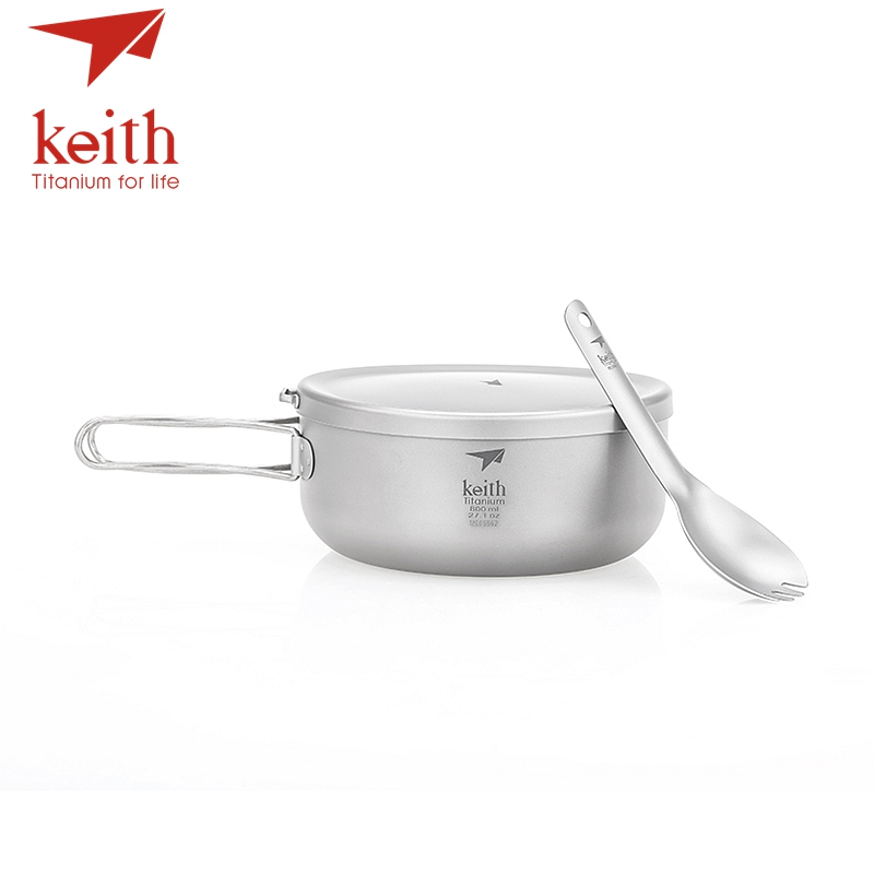 Keith Titanium Folding Bowls Lunch Box With Cover Outdoor Camping Cooking Bowl Cookware Travel Hiking Dinner