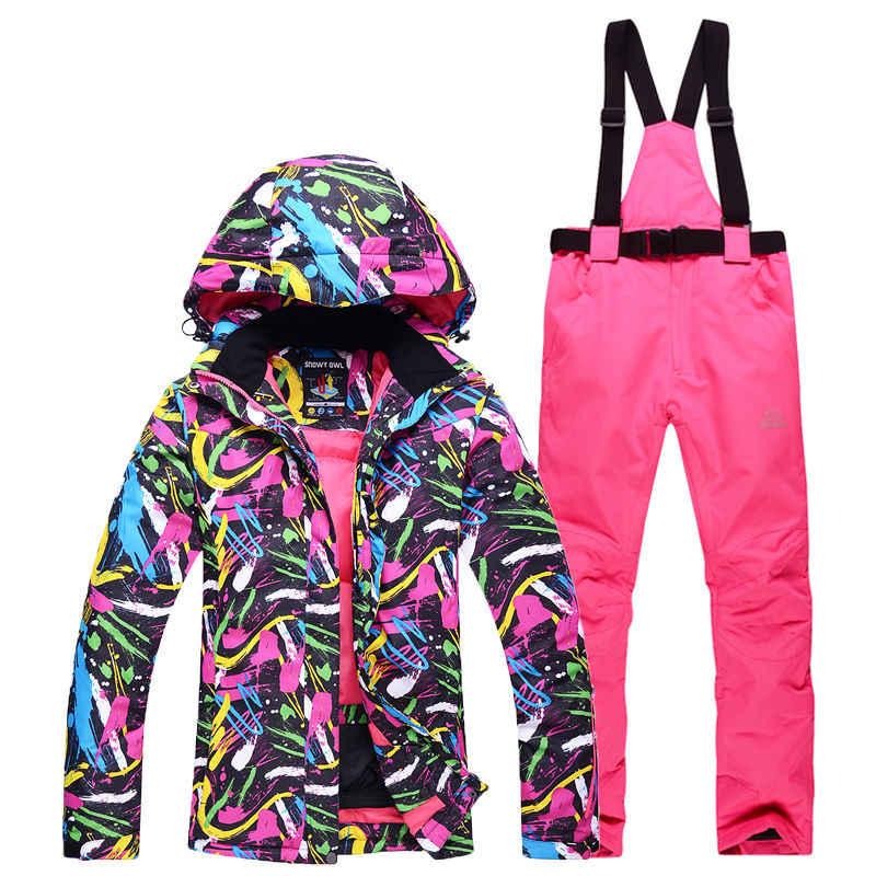 Зимняя одежда для девочек костюм для сноубординга водонепроницаемые ветрозащитные дышащие зимние лыжные куртки и комбинезон женские лыжные штаны