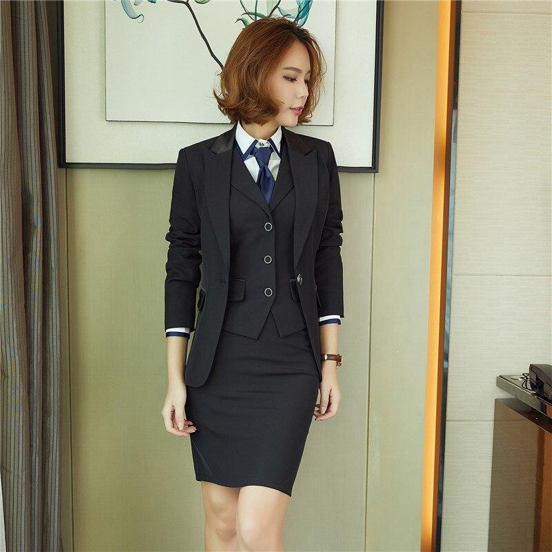 Mujer Gilet Trabajo 3 Uniforme Adies D'affaires Nouveau Suit Jupe Costume Black Suit Marine Noir Pièces Femmes Couleur 2017 Bureau blue Blazer Ensembles Porter Costumes Skirt nqzEx7XO