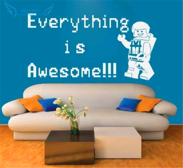 Lego Everything Is Awesome Vinyl Wall Decal Sticker For Kids - Lego wall decals vinylaliexpresscombuy free shipping lego evolution decal wall