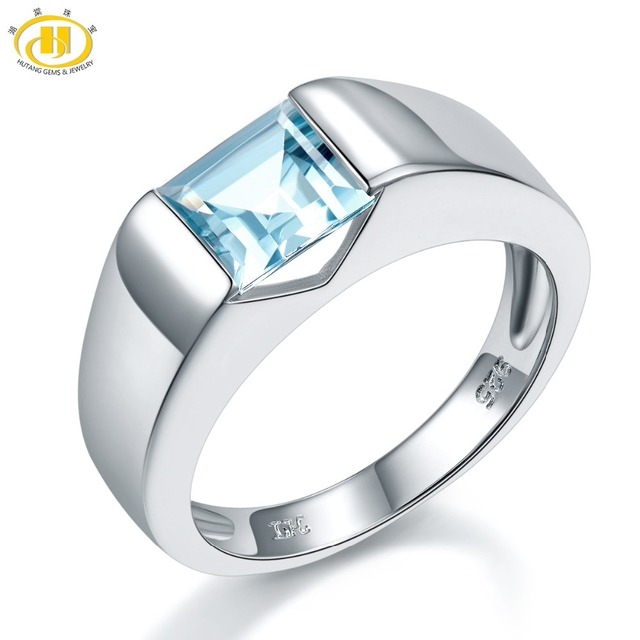 HUTANG Wedding Ring Natural Aquamarine Princess Cut Solid 925 Sterling Silver Gemstone Fine Fashion Jewelry Women Men Xmas Gift