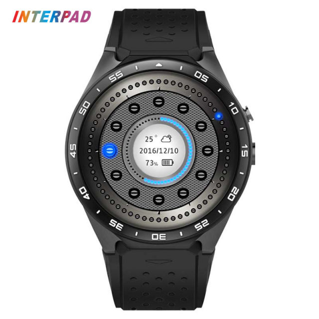Новый процесс interpad kw88 smart watch 3g android 5.1 mtk6580 Quad Core 4 ГБ 512 МБ 400*400 Экран Smartwatch Поддержка GPS Wi-Fi SIM