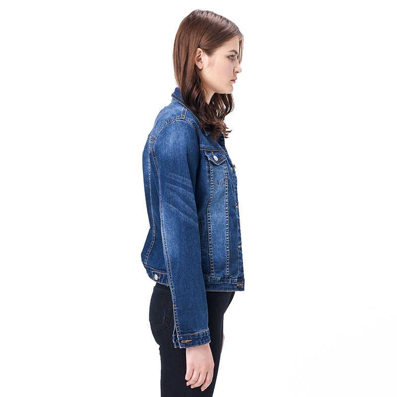 2019 Mulheres Plus Size 6XL LEIJIJEANS Mangas jaqueta jeans casaco longo basical Lixívia Completo Único Peito Magro Das Mulheres Jaqueta Jeans