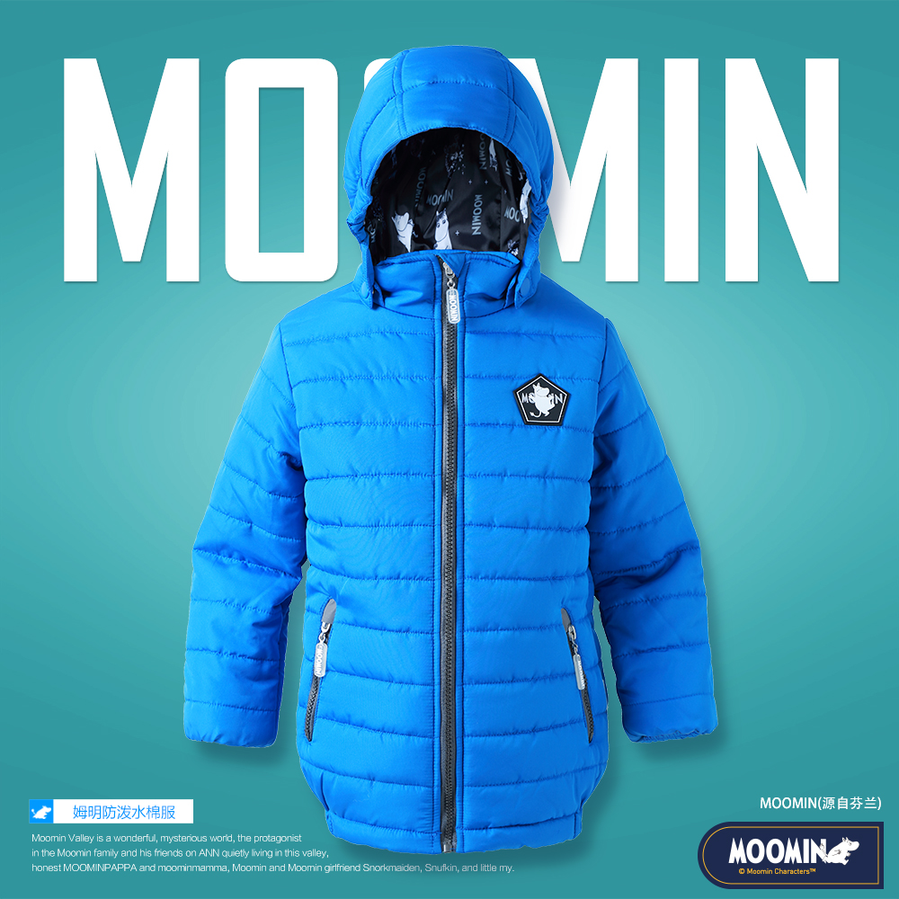 Boys winter outerwear 2017 Moomin Fashion Polyester zipper pocket pocket blue winter parka Boys moomin warm winter jacket dark blue pocket roll up turndown collar winter outerwear