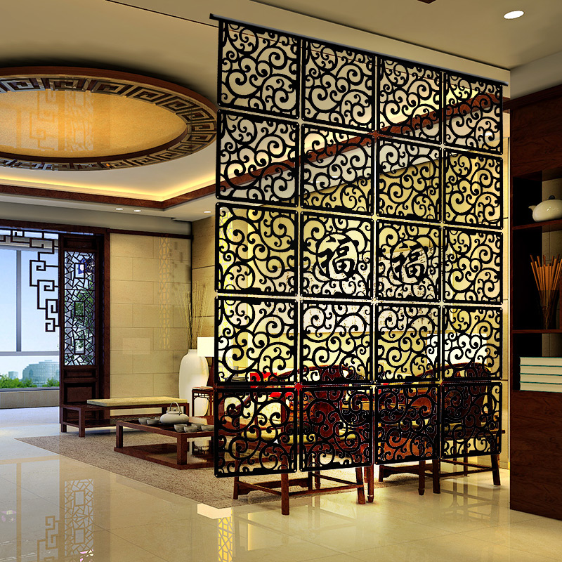 Entranceway door hanging screen 29*29cm Wood carving vintage cutout Fashion  partition Modern brief decoration curtain-in Screens & Room Dividers from  Home ...
