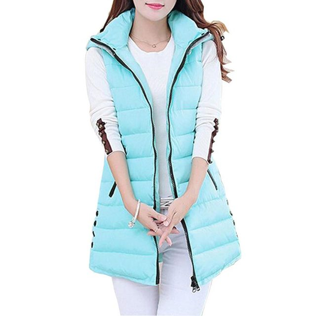 2016 New Autumn Winter Woman Vest Long Fashion Style Vest Down Cotton Hooded Newest Outwear Vest For Women CE269