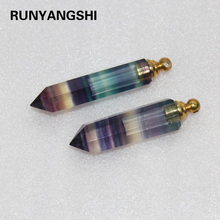 Natural Rainbow fluorite crystal point  perfume bottle Pendant Streaked fluorite Essential oil bottle Necklace Crystal column natural rough stone ornaments green fluorite crystal column fluorite column ornaments wholesale