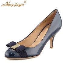 44c61137f5d9e Buty Kobieta Pompy Kobiet Prawdziwej Skóry szpilki Stiletto 7 cm Śliczne  Bow Czarny Apricot Nago Niebieski