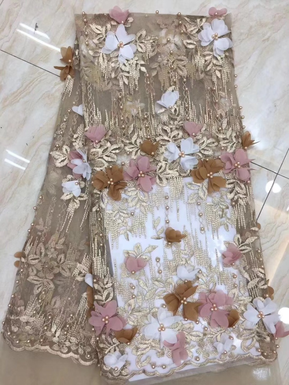 2019 High Quality African Mesh lace fabric With pearl Tulle Lace Design Nigerian Lace Fabrics for wedding2019 High Quality African Mesh lace fabric With pearl Tulle Lace Design Nigerian Lace Fabrics for wedding