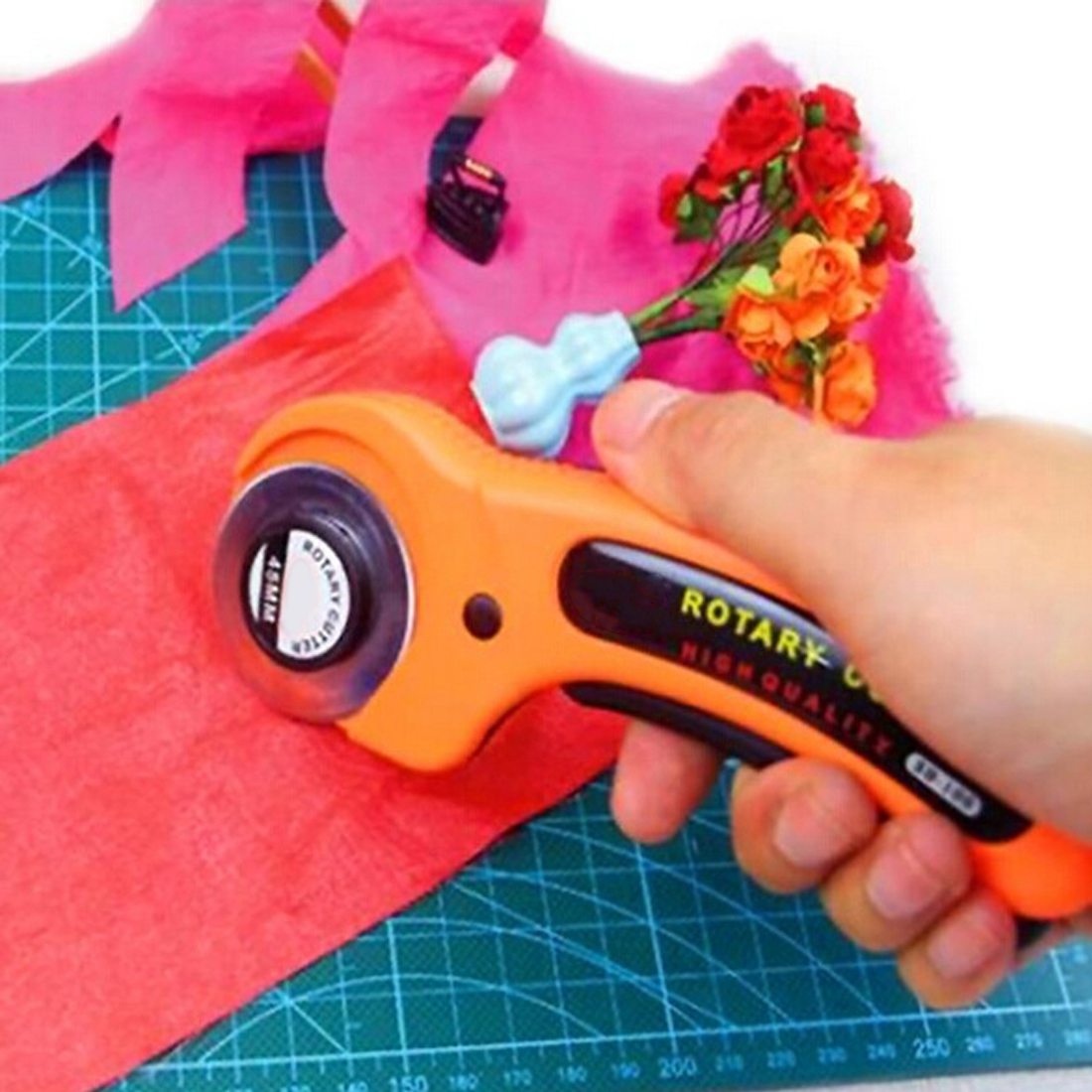 45mm Handle Rotary Cutter Cloth Cutting Blades Circular Patchwork Leather Sewing Tool Quilting Fabric Cutting Craft Tool