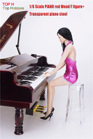 Fit 1 6 12 Dolls Scene Accessories PIANO Red Wood Transparent Piano Stool Set
