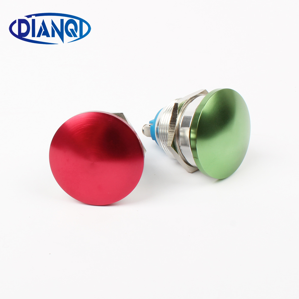 цена на Free shipping 22mm metal mushroom press button switch Zn-al Alloy waterproof push button switch momentary 1NO 22MG/HJ.F.L