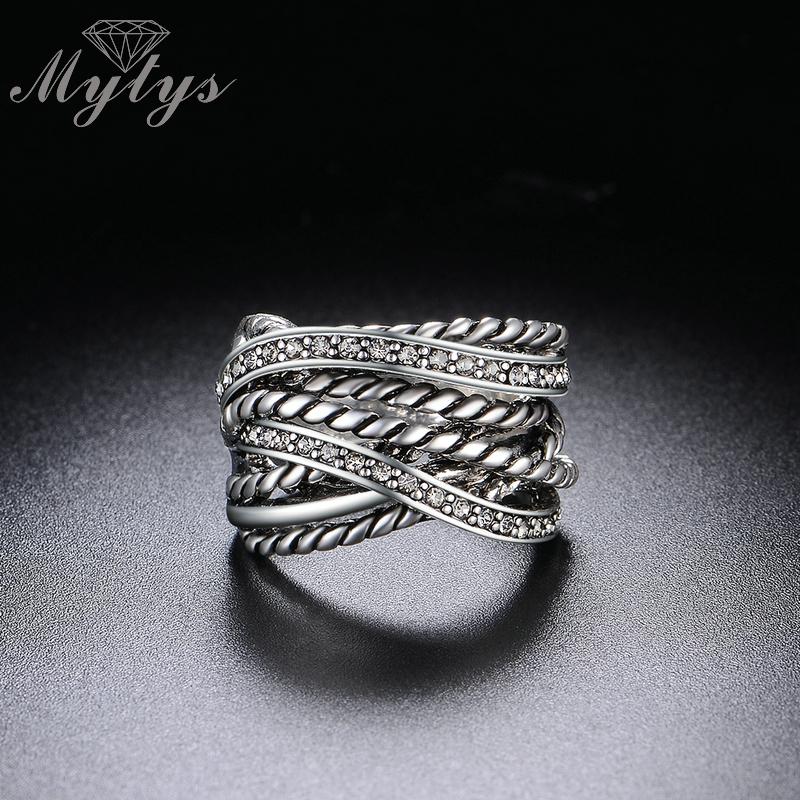 Mytys Retro Old Copper Chunky Ring Line Twist Geometric Invisible - Նորաձև զարդեր - Լուսանկար 2