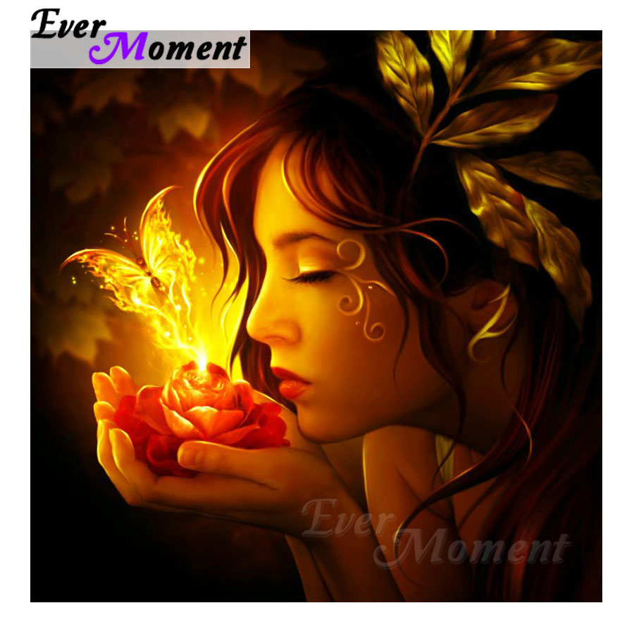 Ever Moment Diamond Painting Woman Flower Picture Mosaic 5D DIY Rhinestone Diamond Embroidery Decor Home Full Square S2F994Ever Moment Diamond Painting Woman Flower Picture Mosaic 5D DIY Rhinestone Diamond Embroidery Decor Home Full Square S2F994