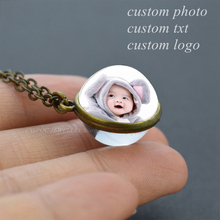 Personalized Custom Photo Glass Ball Cabochon Necklace DIY Jewelry Pendant Women Family Baby Lover Birthday Gifts