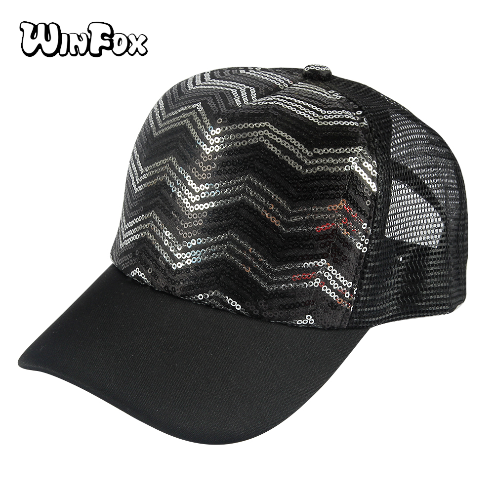 Winfox Unisex Vintage Black Summer Baseball Cap Trucker Dad Hat Men Caps Polyester Hat Women Snapback Sun Visor Retro Hats