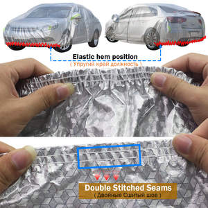 Image 3 - Cawanerl Three Layer Thick Car Cover Waterproof Anti UV Sun Rain Snow Hail Dust Protection Surface Aluminum Foil + Inner Cotton