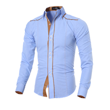 Men Shirt 2016 Fashion Brand Men'S Double Button Male Long-Sleeved Shirt Camisa Masculina Casual Slim Chemise Homme XXL