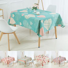 Nordic Geometric Stripe Printed Tablecloth Polyester Heart Shaped Waterproof Tablecloth Linen Dining Table Cloth Decor Textile