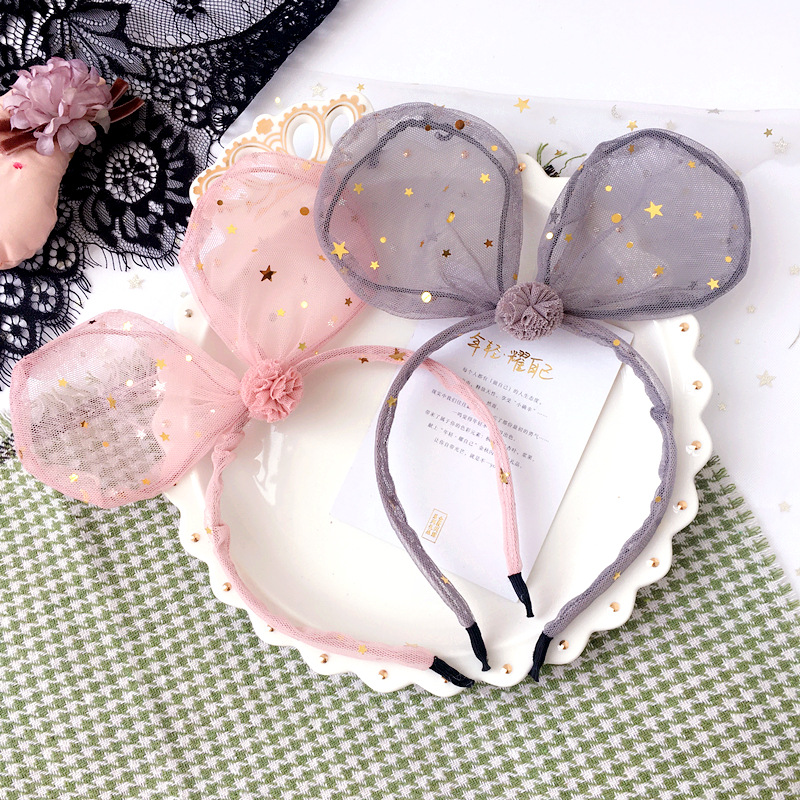 Korea Lace Flower Bunny Hair Band Gauze Hair Accessories lovely Embroidery Headband for Girls Hair Band Hair Bow Princess