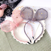 Korea Lace Flower Bunny Hair Band Gauze Accessories lovely Embroidery Headband for Girls Bow Princess