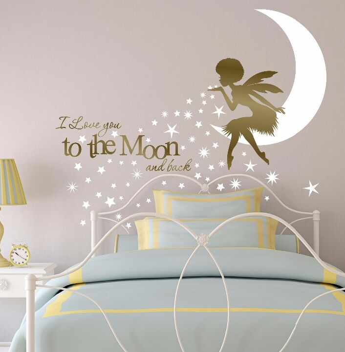 US $11.04 25% OFF|African Fairy Wall Sticker I Love You to the Moon Nursery  Fairy Wall Decal Kids Bedroom Decor Afro Girl Fairy Wall Art AY0153-in ...