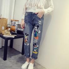 5Xl Mickey Mouse mujer novio Jeans talla grande rasgado Jeans para mujer  moda Denim Pantalones tobillo 1db0237c8bb