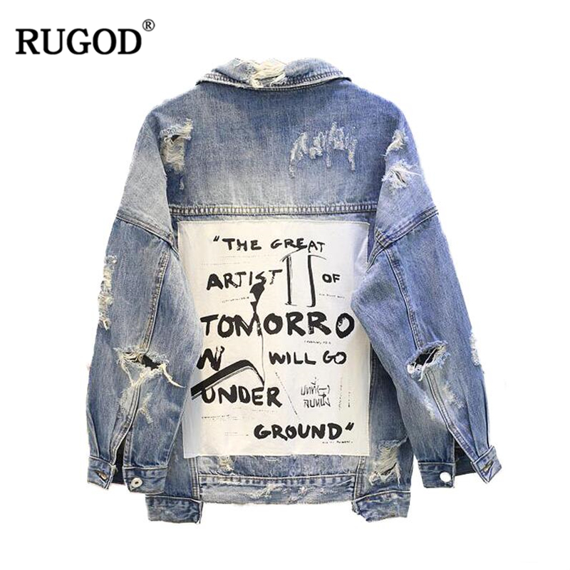3e739c1a378 RUGOD 2018 новая старинная буква печати Потертая джинсовая куртка Женская  Осень Зима рваные с дырками джинсовые пальто женские куртки-бомберы .