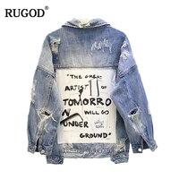 RUGOD 2018 New Vintage Letter Print Frayed Jean Jacket Women Autumn Winter Ripped Hole Denim Coat Female Bomber Jackets Casaco