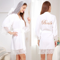 Sexy Marriage Kimono Bathrobe Gowns 2019 NEW White Bride Wedding Lace Robe Loose Cotton Bridesmaid Party Nightgown Sleepwear