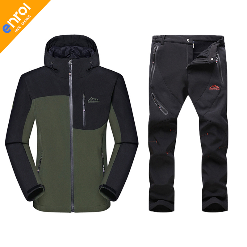 Man Winter Waterproof Windproof Hunting Camping Outdoor Hiking Camouflage Jacket Suit Army Military Softshell Pantfleece jackets man new winter waterproof fishing trousers tactical softshell hunting outdoor jackets set army suit military pants