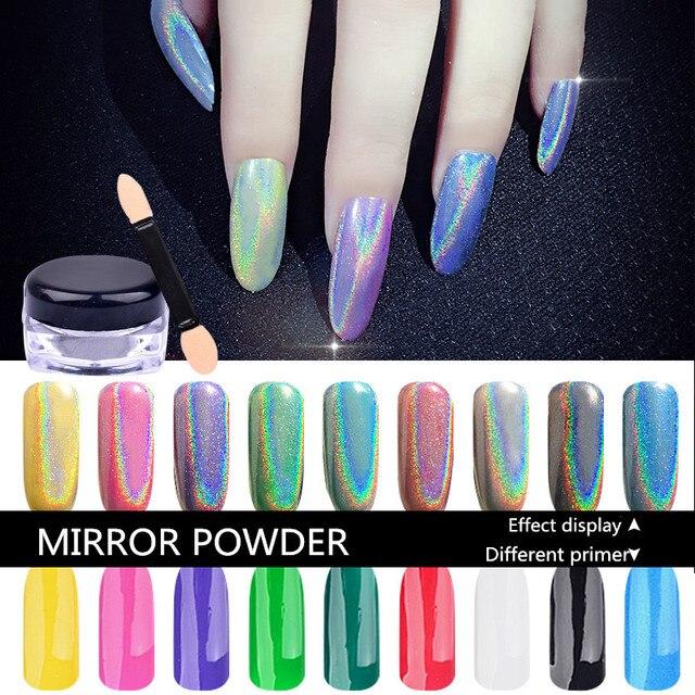 1g ESPEJO POWDER UÑAS Holográfico Esmalte de Uñas Nail Art Glitter ...