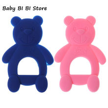 Baby Teether Bear Cute Necklace Teething Massage Pain Relief Pacifier Newborn Orthodontic Oral Care Infants Food Grade Silicone(China)