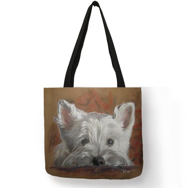 315c0518e3 Diseño único Westie perro pintura bolso para mujer de compras bolsas de  viaje de gran capacidad
