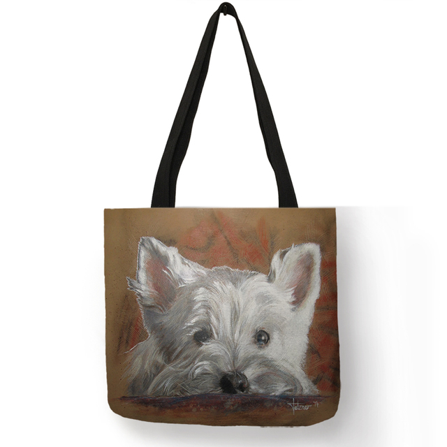 Unique Design Westie Dog Painting Handbag for Women Shopping  Travel Bags Large Capacity  Eco Linen Tote Bag
