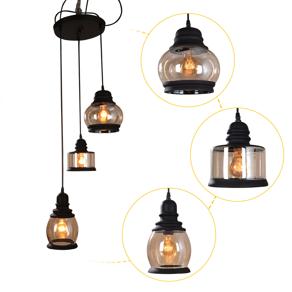 Vintage edison light loft pendant light retro loft glass for Suspension contemporaine