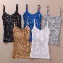 201 summer new paragraph in a sequined vest backing Sexy Halter Top, high quality Camis for women and girls