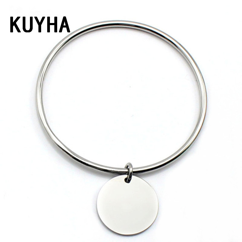 Gold Plating And Steel Silver Pendant Charm Bangle Bracelet with Dangle Drop Customizing Personalized Simple Bangle For Women