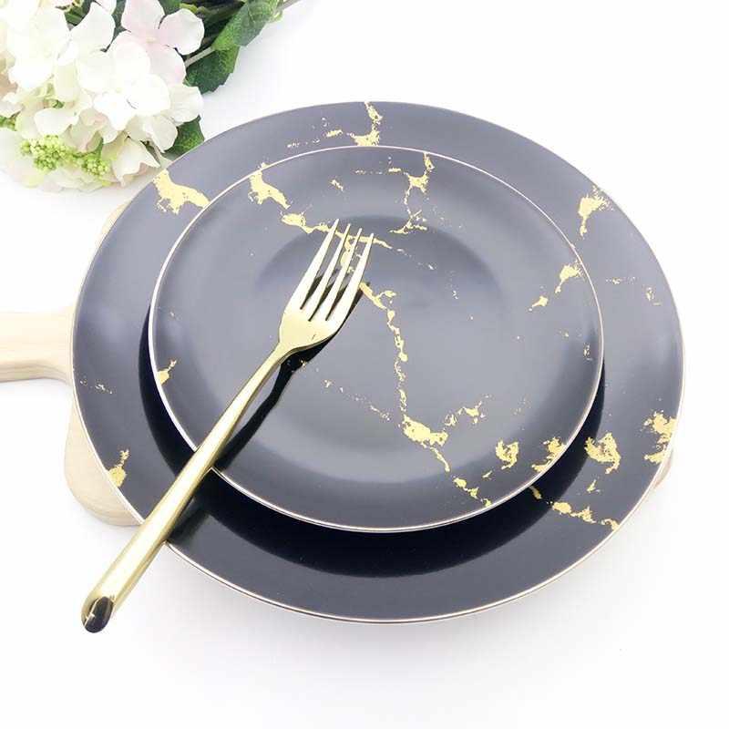Золотая мраморная керамика набор обеденных тарелок скандинавские короткие круглые стейк паста тарелки Роскошная Посуда круглое блюдо поднос для еды рождественские подарки