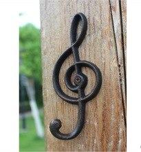 2 ピース/ロット H: 16 センチメートルアメリカンアンティーク工業スタイル鋳鉄音符ハンガー観賞フック