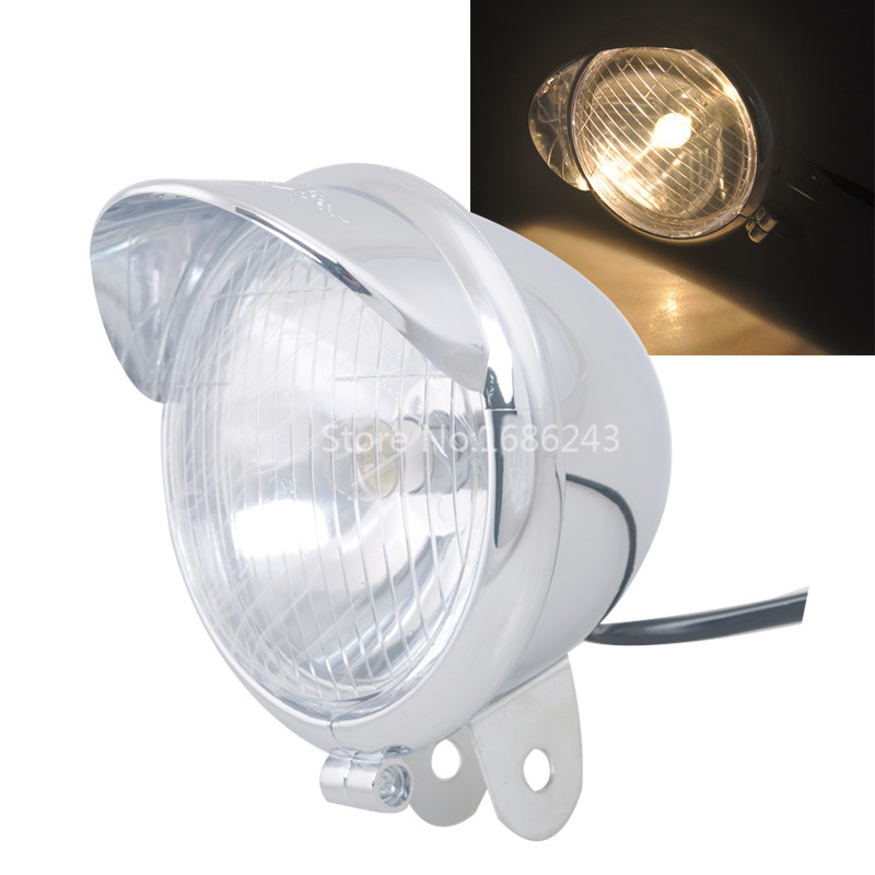 "4.76"" Chrome 12V Motorcycle Bullet Headlight Head Lamp Fits For Harley Yamaha Chopper