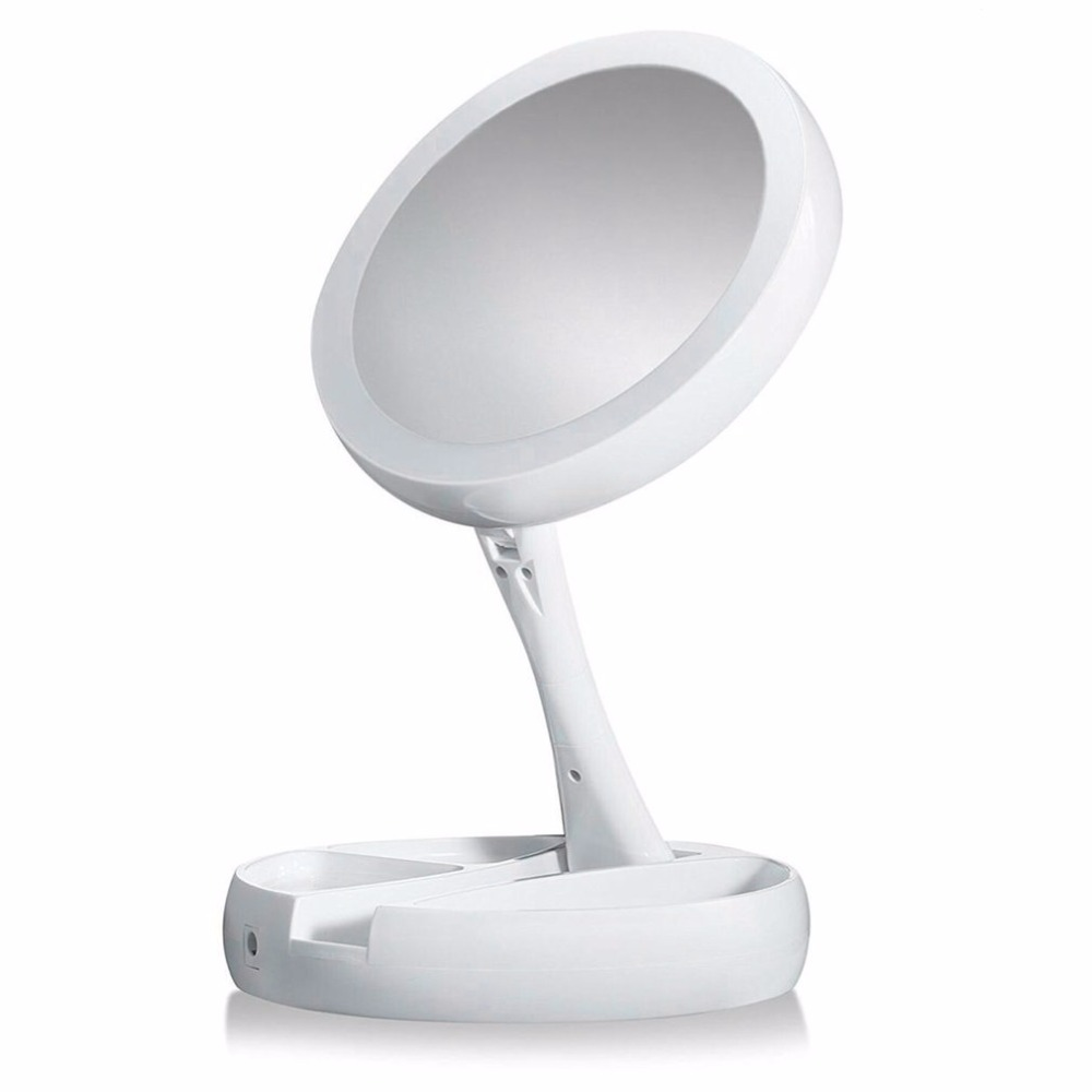 Lower Power Foldable Round Shape LED Makeup Mirror Women Facial Makeup Cosmetic Desktop Cosmetic Mirror Tools new