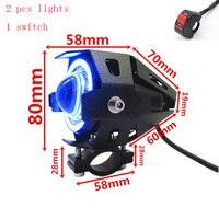 2pcs Motorcycle Headlight With Switch CREE LED Chip U5 135W 3000LM White 6000K Fog DRL Daytime Running Light Spotlight Led Lamp