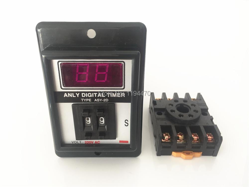 5 set/Lot ASY-2D 1-99s AC 220V Power On Delay Timer Digital Time Relay 1-99 second 220VAC 8 Pin with PF083A Socket Base стоимость