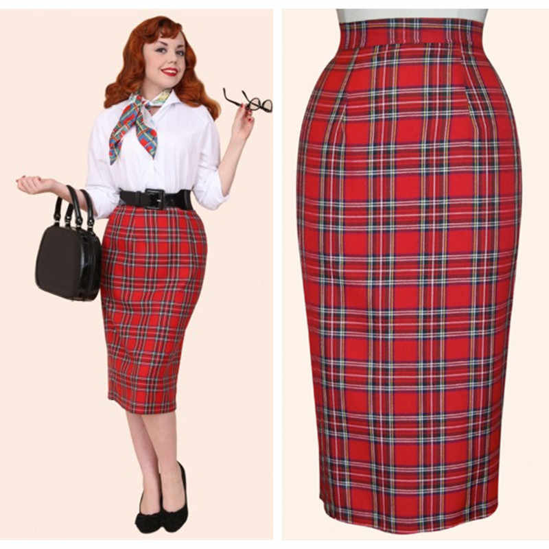ebd02aa954 30- women vintage 50s pinup tartan high waist wiggle midi pencil skirt in  red plus