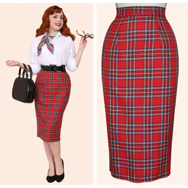 a1e1ccc85a 30- women vintage 50s pinup tartan high waist wiggle midi pencil skirt in  red plus size skirts falda talla grande jupe crayon