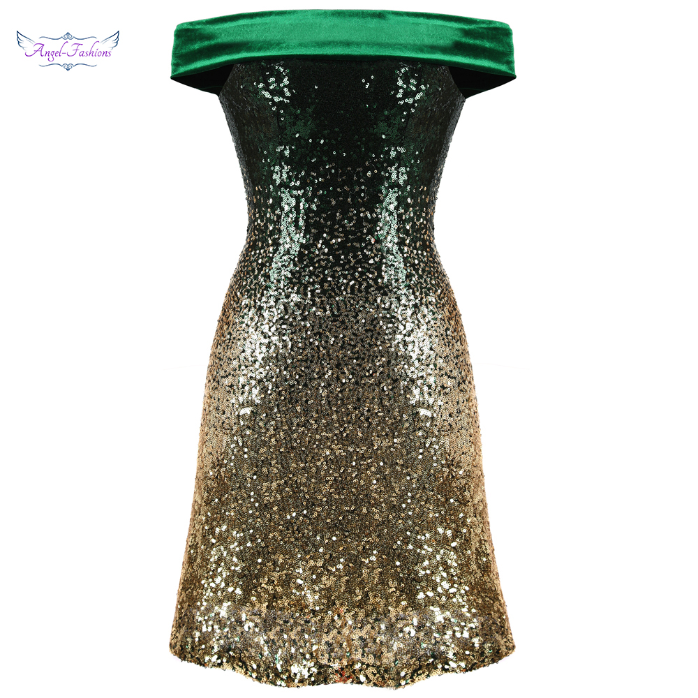 Angel-fashions Women's Gradient Cocktail Dresses Off Shoulder A-line Sequin Twinkle Dresses Green Gold 389